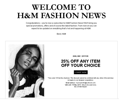 H and M welcome email