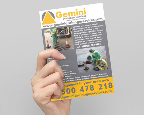 Gemini Parking Solutions - Gemini Drainage Solutions - Skyline Roofing Services - Flyer Design, Poster Design, Website updates, social media