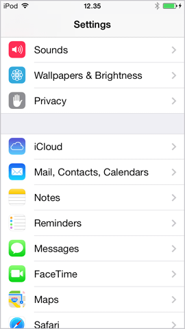 tap mail contacts calendar on iphone ios7
